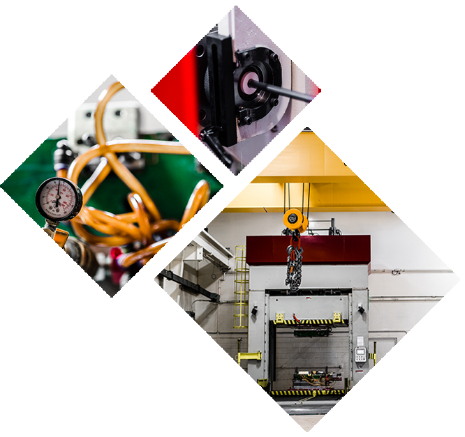 3 diamond shaped images of industrial machines